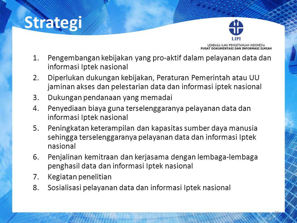 Strategi Pengembangan kebijakan yang pro-aktif dalam pelayanan data dan informasi Iptek nasional.