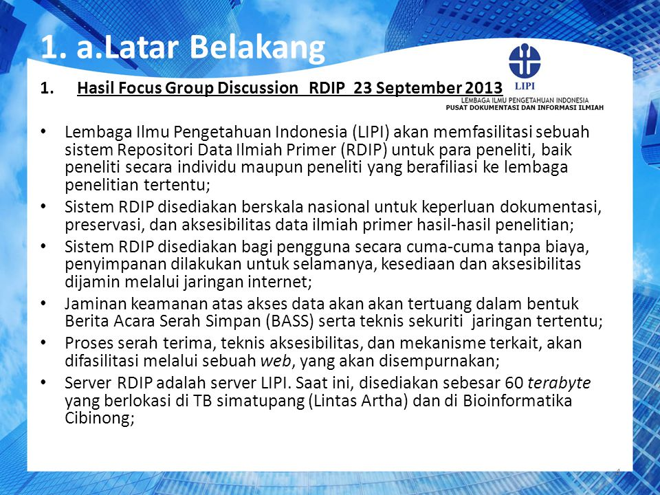 1. a.Latar Belakang Hasil Focus Group Discussion RDIP 23 September 2013.