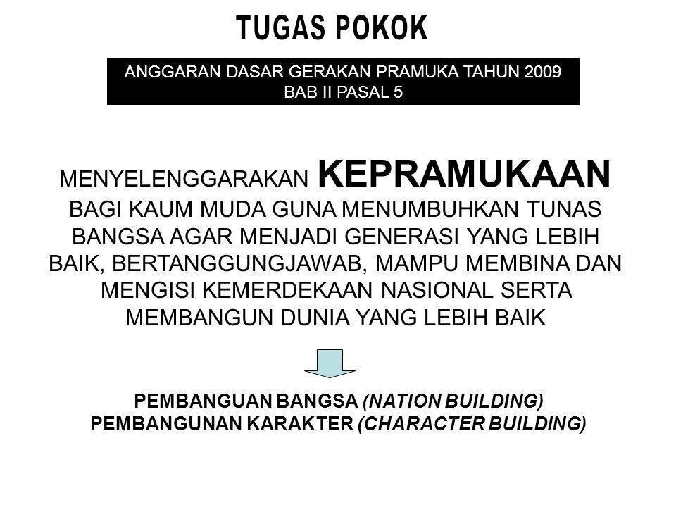 TUGAS POKOK ANGGARAN DASAR GERAKAN PRAMUKA TAHUN 2009. BAB II PASAL 5.