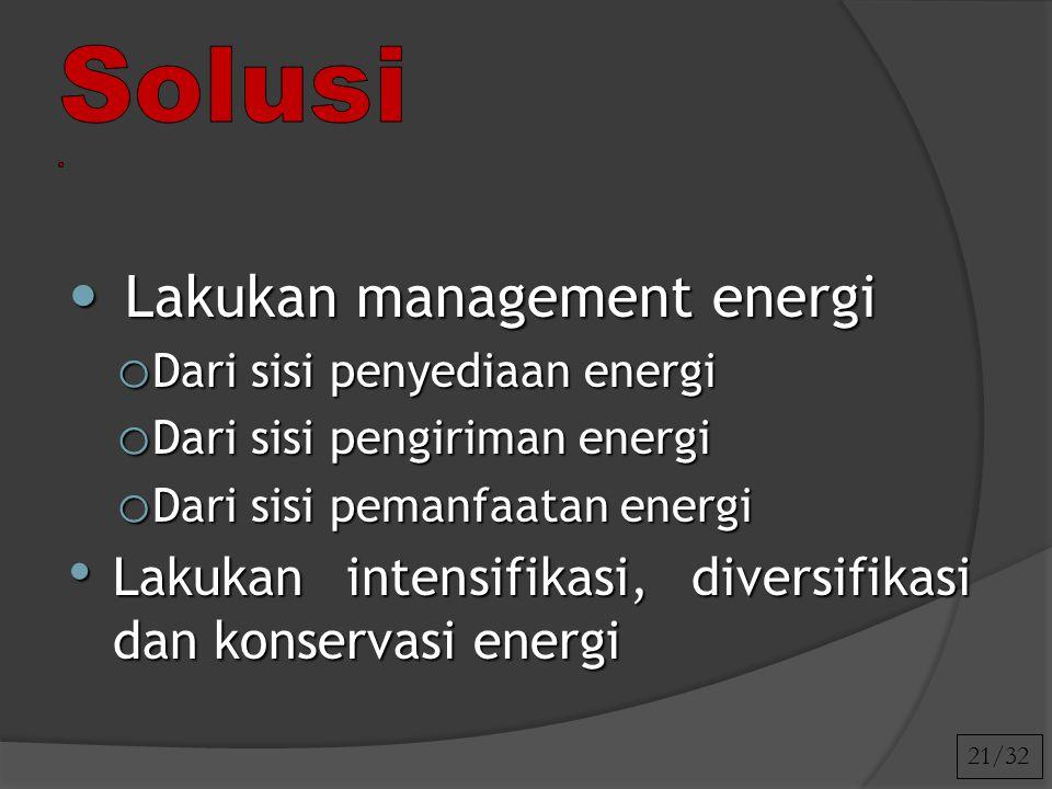Solusi . Lakukan management energi