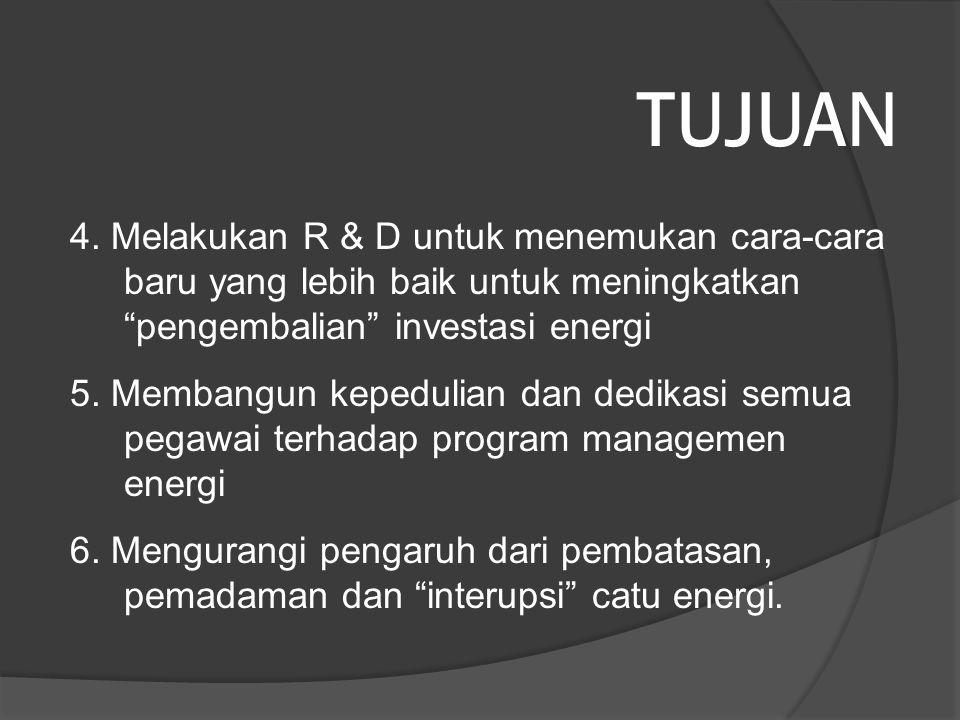 TUJUAN 4. Melakukan R & D untuk menemukan cara-cara baru yang lebih baik untuk meningkatkan pengembalian investasi energi.