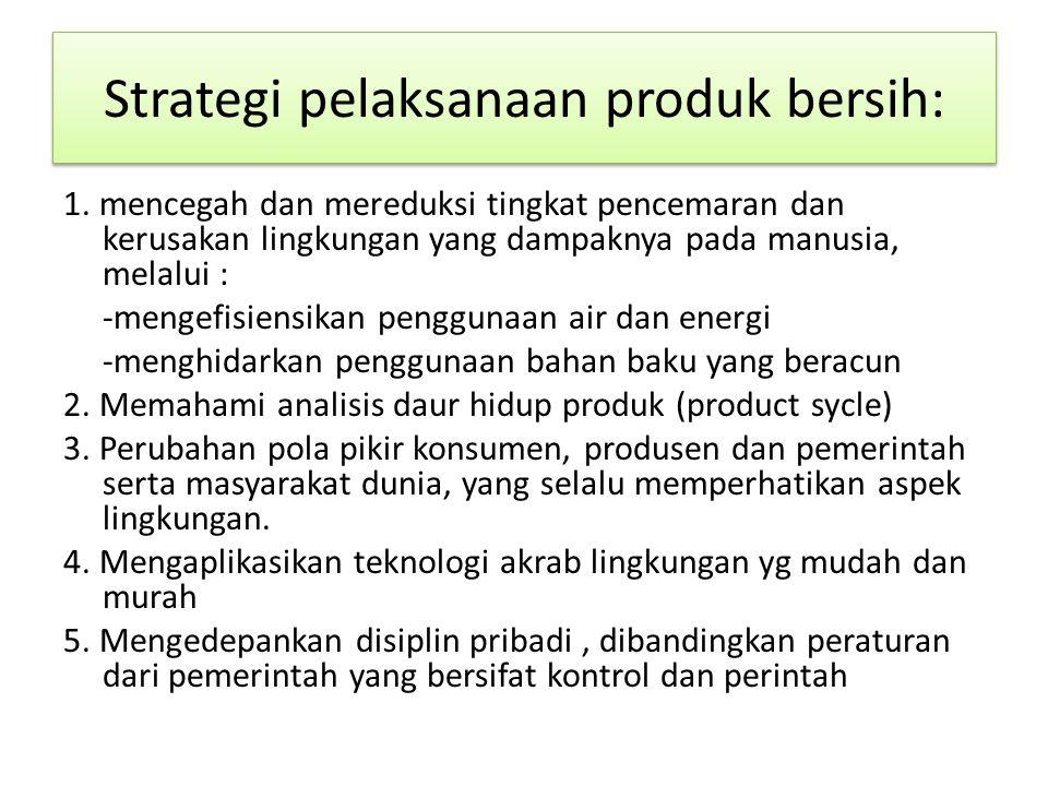 Strategi pelaksanaan produk bersih: