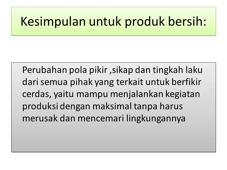 Kesimpulan untuk produk bersih: