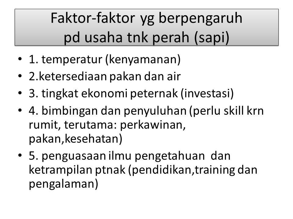 Faktor-faktor yg berpengaruh pd usaha tnk perah (sapi)