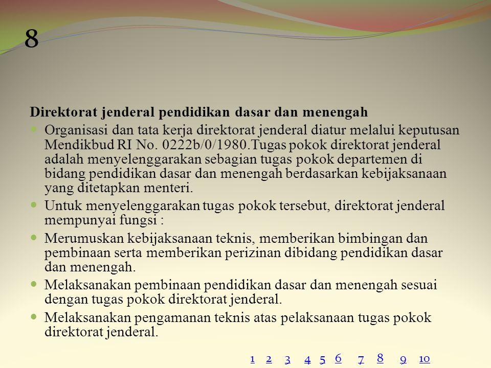 8 Direktorat jenderal pendidikan dasar dan menengah
