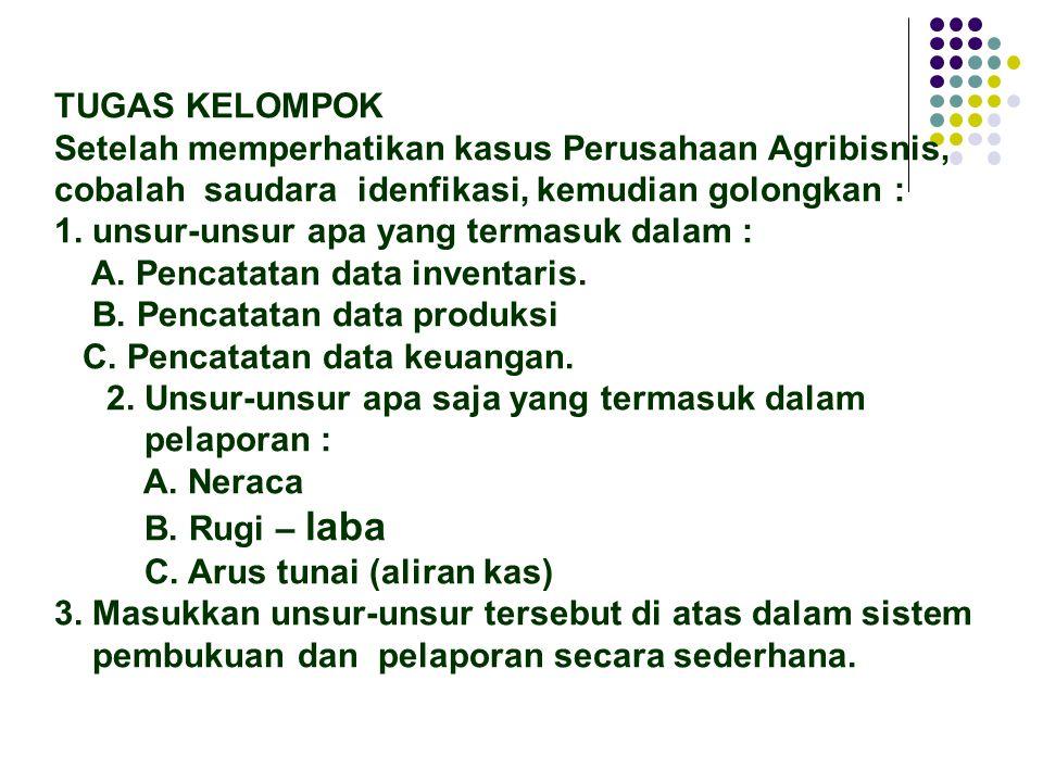 TUGAS KELOMPOK Setelah memperhatikan kasus Perusahaan Agribisnis, cobalah saudara idenfikasi, kemudian golongkan :