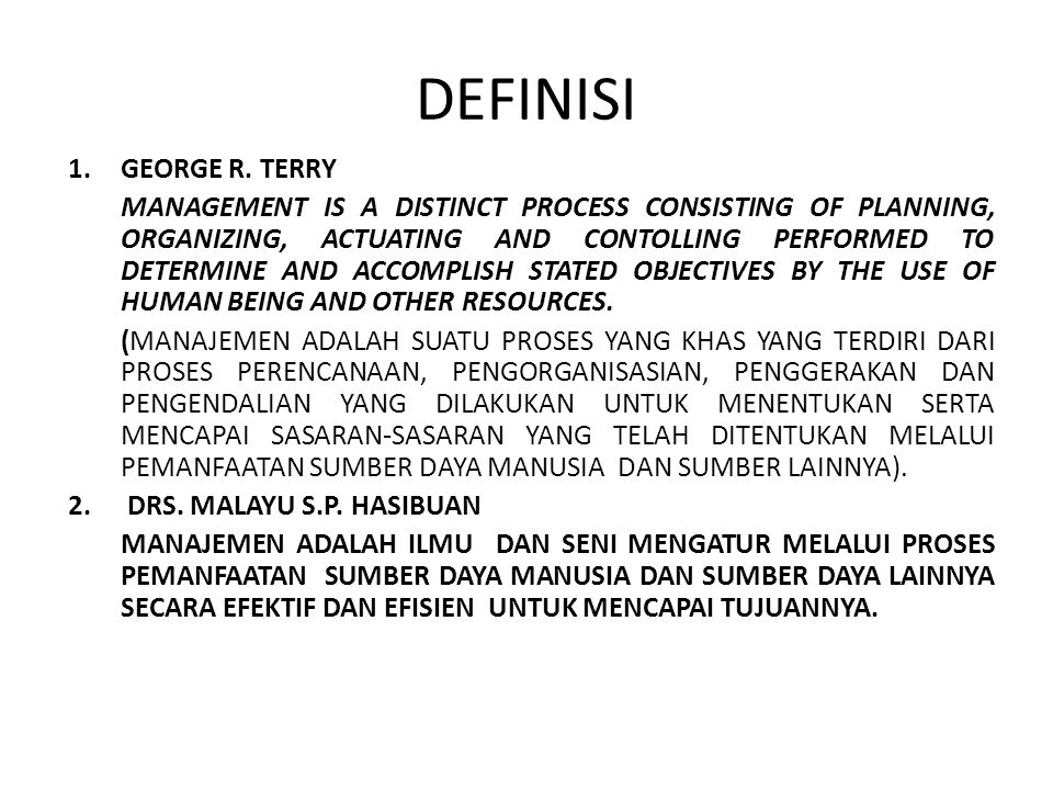 DEFINISI GEORGE R. TERRY