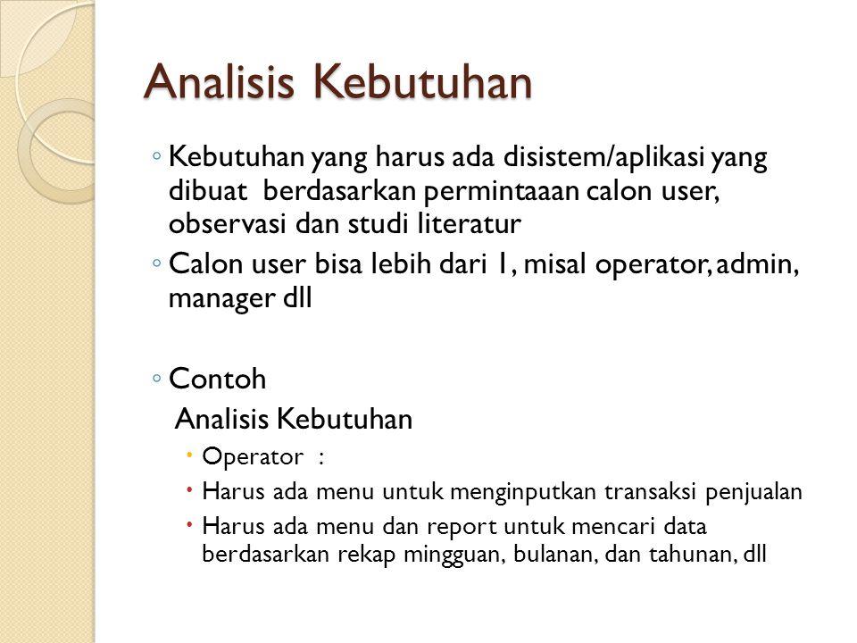 Analisis Kebutuhan Kebutuhan yang harus ada disistem/aplikasi yang dibuat berdasarkan permintaaan calon user, observasi dan studi literatur.