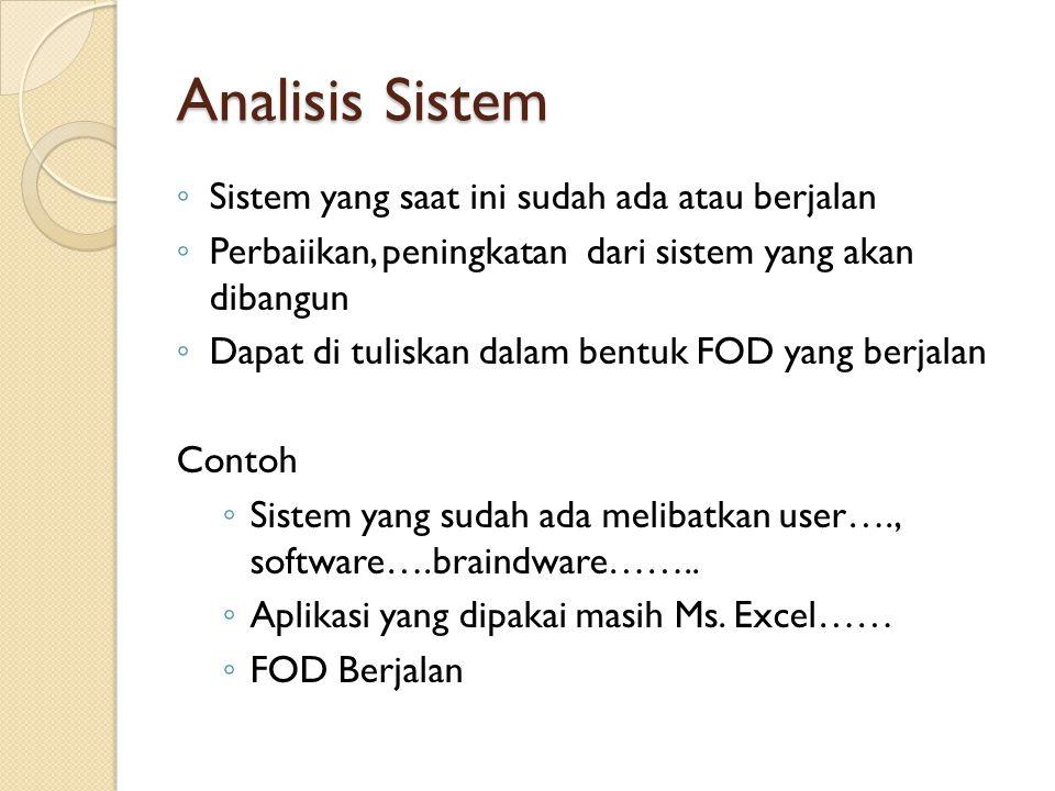 Analisis Sistem Sistem yang saat ini sudah ada atau berjalan