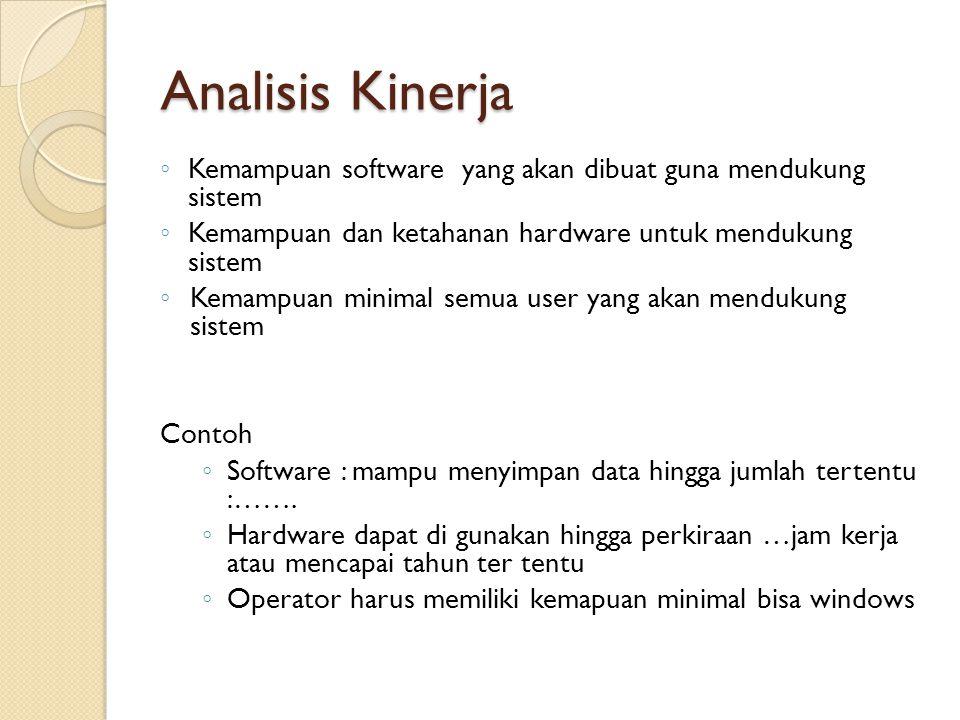 Analisis Kinerja Kemampuan software yang akan dibuat guna mendukung sistem. Kemampuan dan ketahanan hardware untuk mendukung sistem.