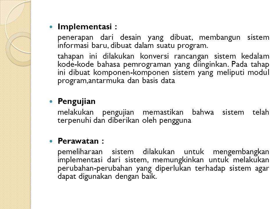 Implementasi : penerapan dari desain yang dibuat, membangun sistem informasi baru, dibuat dalam suatu program.