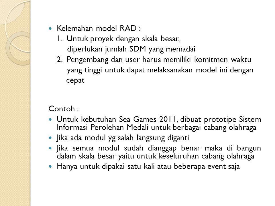 Kelemahan model RAD : 1. Untuk proyek dengan skala besar, diperlukan jumlah SDM yang memadai.