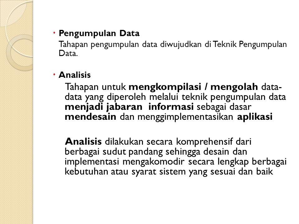 Pengumpulan Data Tahapan pengumpulan data diwujudkan di Teknik Pengumpulan Data. Analisis.