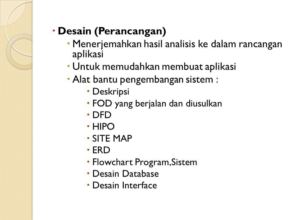 Menerjemahkan hasil analisis ke dalam rancangan aplikasi