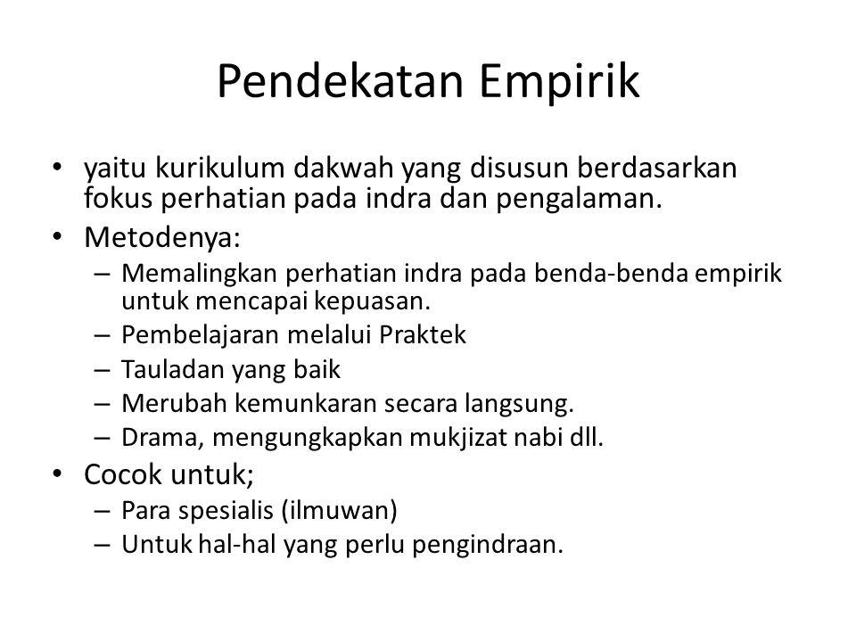 Pendekatan Empirik yaitu kurikulum dakwah yang disusun berdasarkan fokus perhatian pada indra dan pengalaman.