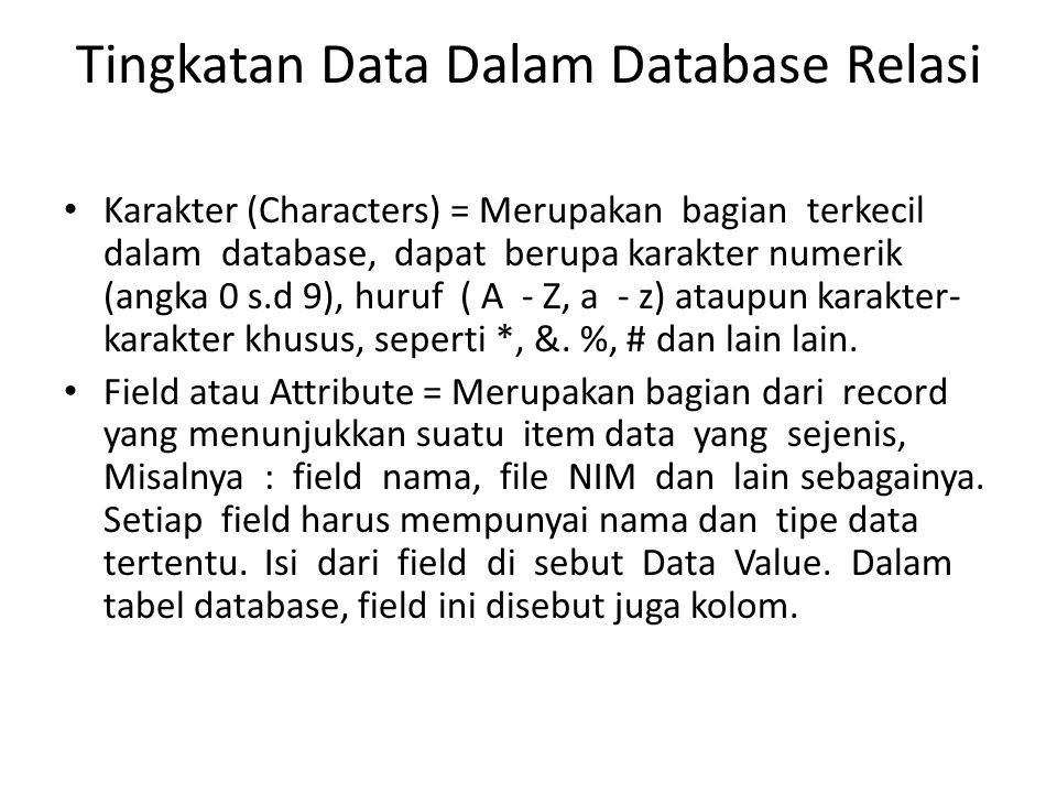 Tingkatan Data Dalam Database Relasi