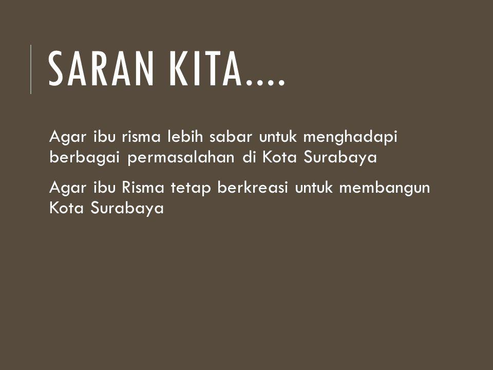 Saran kita.... Agar ibu risma lebih sabar untuk menghadapi berbagai permasalahan di Kota Surabaya.
