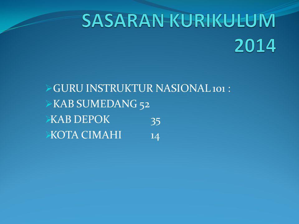 SASARAN KURIKULUM 2014 GURU INSTRUKTUR NASIONAL 101 : KAB SUMEDANG 52