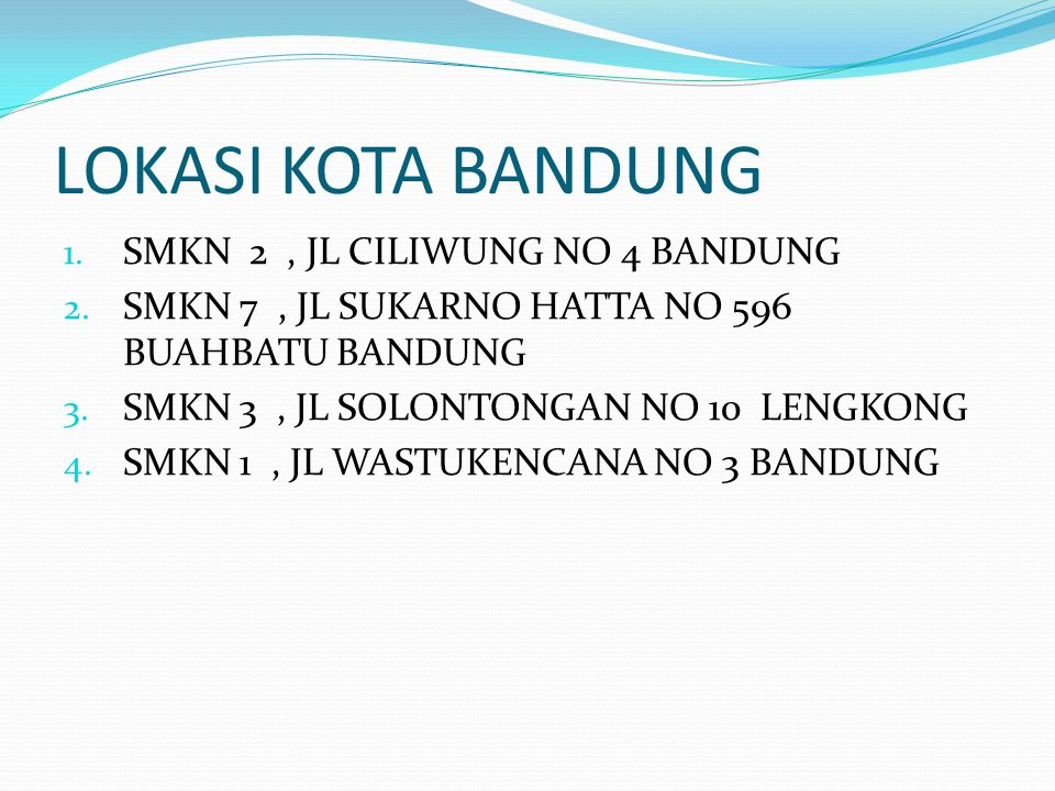 LOKASI KOTA BANDUNG SMKN 2 , JL CILIWUNG NO 4 BANDUNG