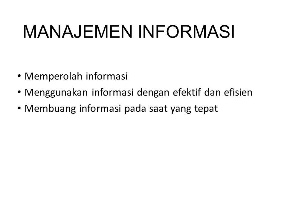 MANAJEMEN INFORMASI Memperolah informasi