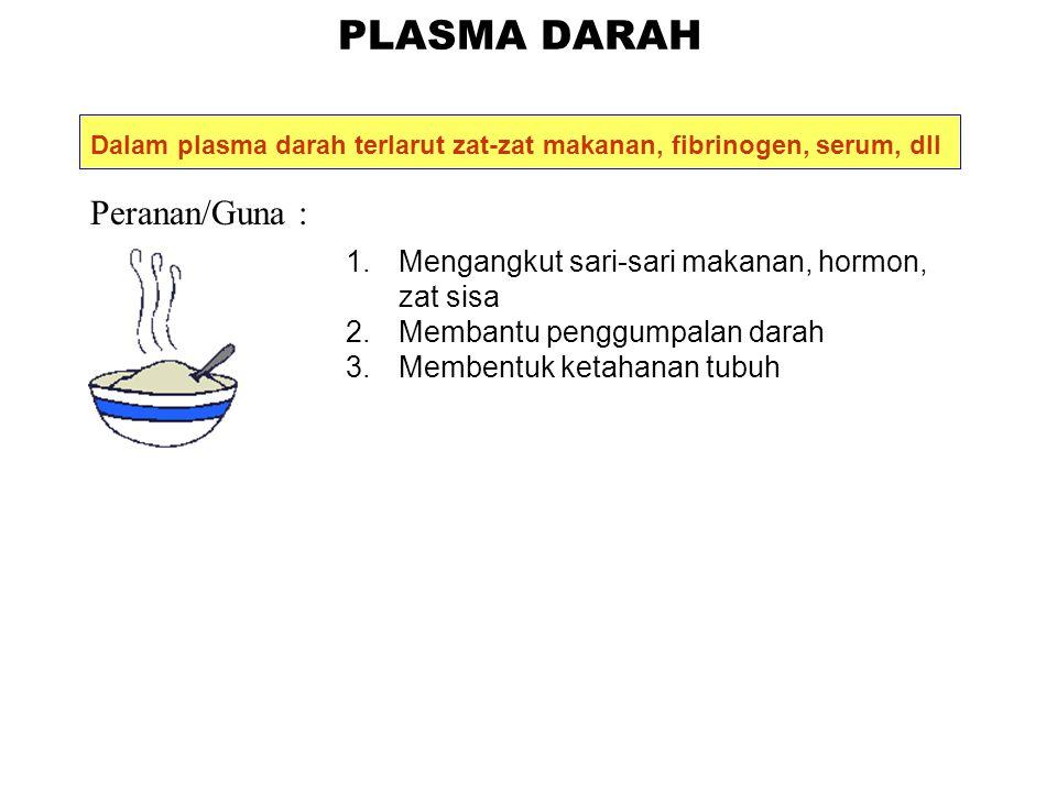 PLASMA DARAH Peranan/Guna :