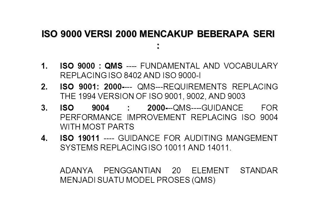 ISO 9000 VERSI 2000 MENCAKUP BEBERAPA SERI :