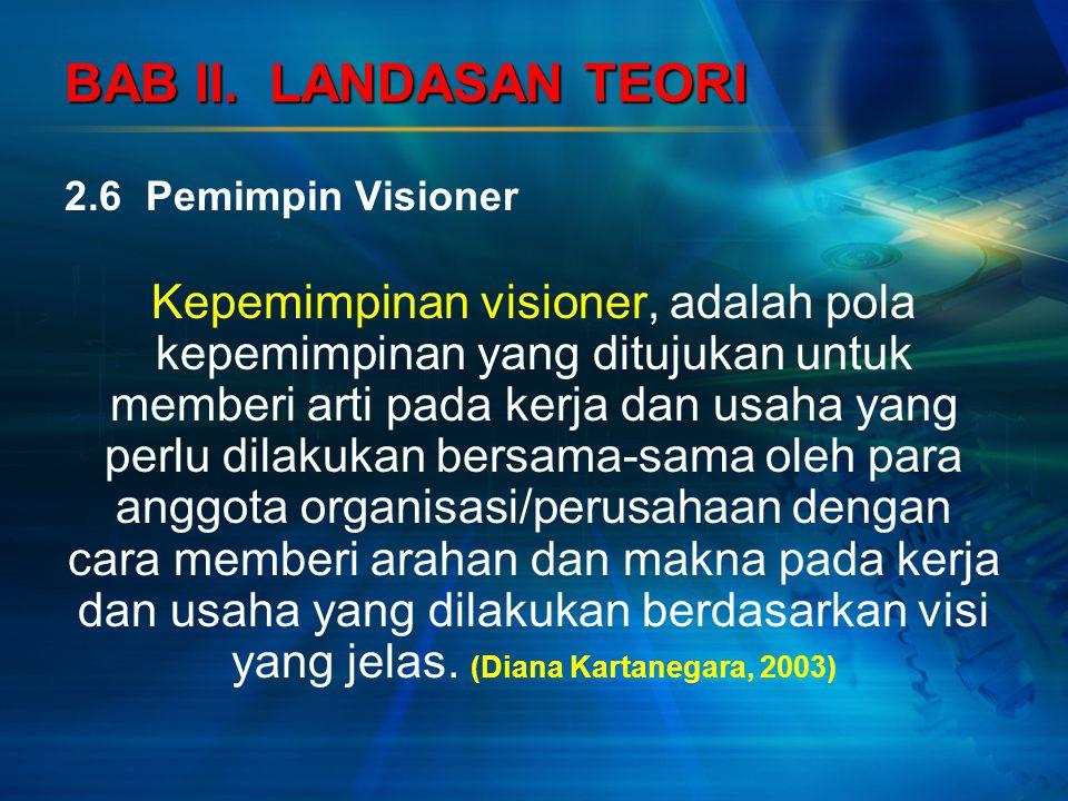BAB II. LANDASAN TEORI 2.6 Pemimpin Visioner.