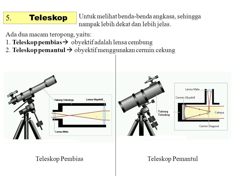 5. Teleskop Untuk melihat benda-benda angkasa, sehingga nampak lebih dekat dan lebih jelas. Ada dua macam teropong, yaitu: