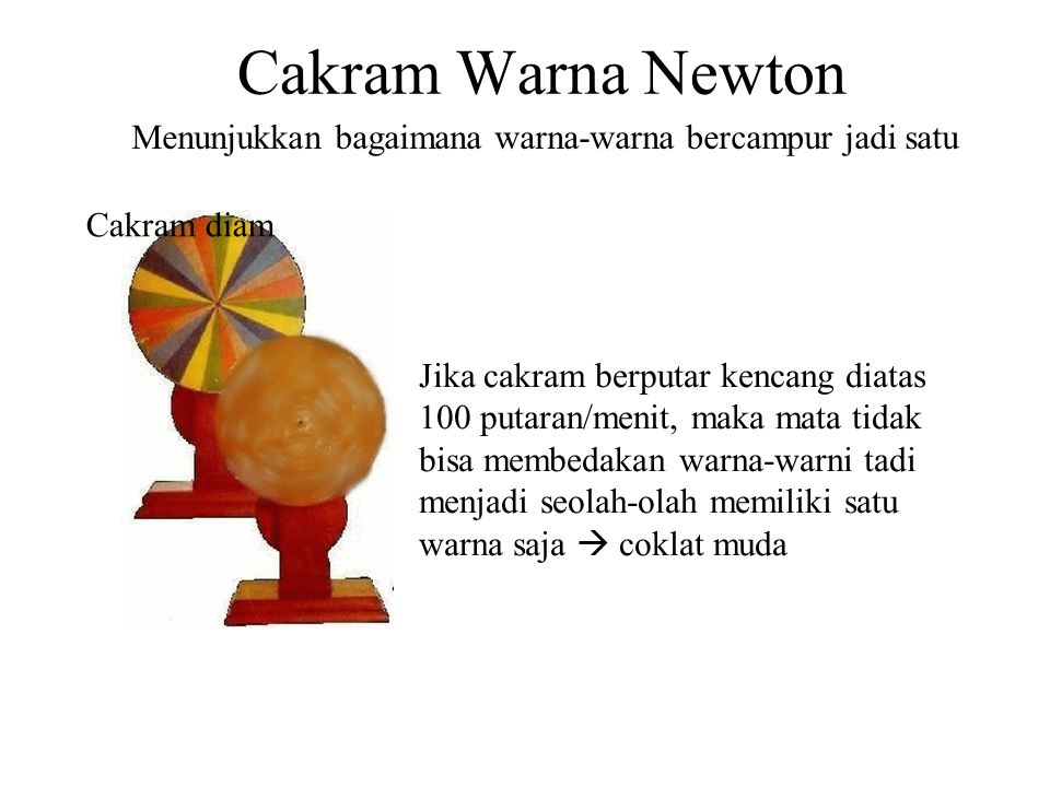 Cakram Warna Newton Menunjukkan bagaimana warna-warna bercampur jadi satu. Cakram diam.