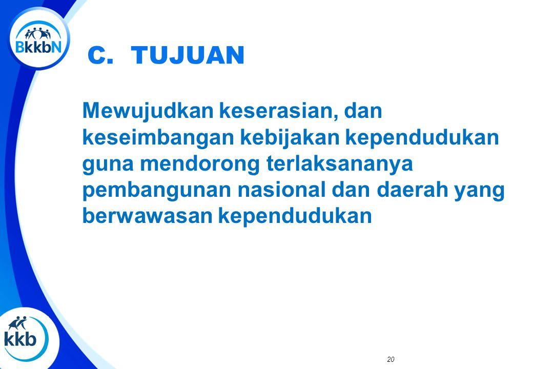 D. SASARAN Tersedianya grand design pembangunan kependudukan dan kebijakan sektor pembangunan berwawasan kependudukan.
