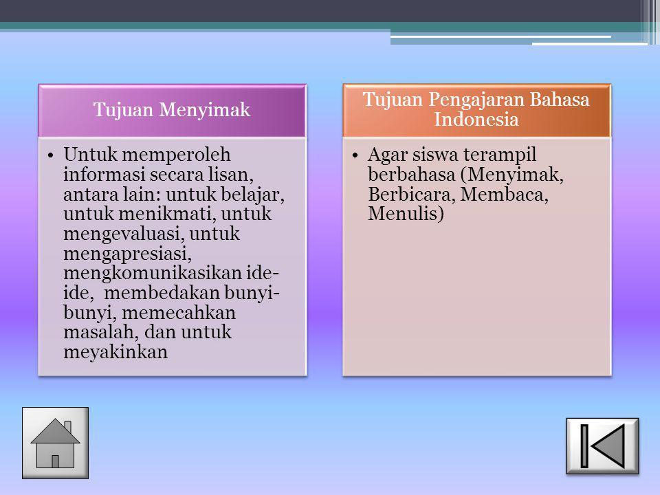 Tujuan Pengajaran Bahasa Indonesia