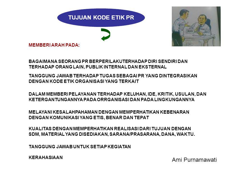 TUJUAN KODE ETIK PR Ami Purnamawati MEMBERI ARAH PADA: