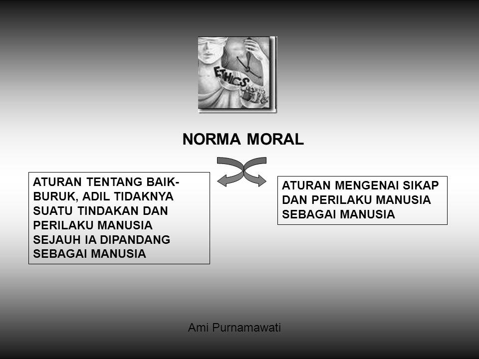 NORMA MORAL ATURAN TENTANG BAIK-BURUK, ADIL TIDAKNYA SUATU TINDAKAN DAN PERILAKU MANUSIA SEJAUH IA DIPANDANG SEBAGAI MANUSIA.