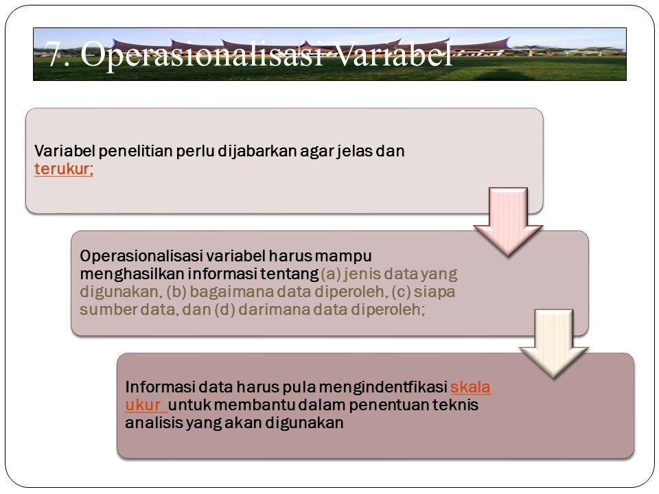 7. Operasionalisasi Variabel