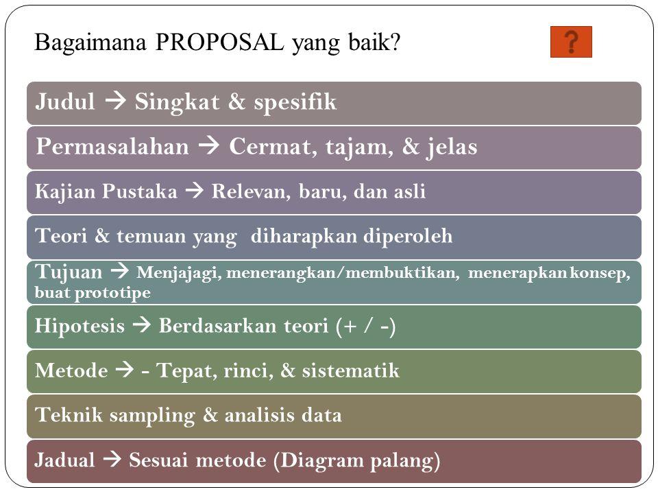 Bagaimana PROPOSAL yang baik Judul  Singkat & spesifik