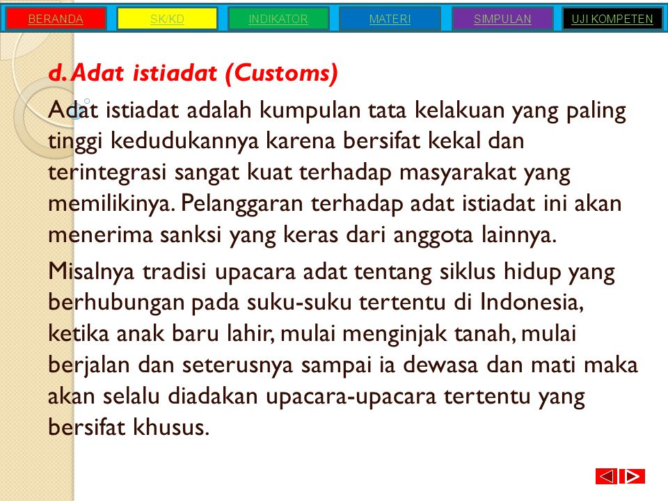 d. Adat istiadat (Customs)