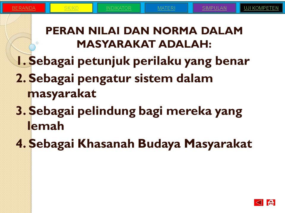PERAN NILAI DAN NORMA DALAM MASYARAKAT ADALAH:
