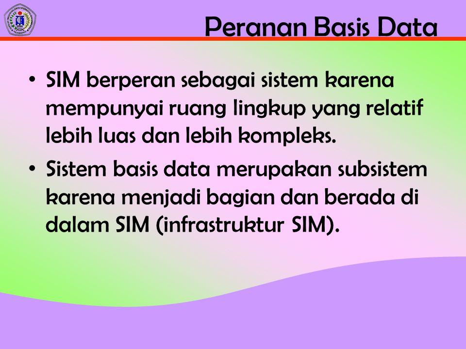 Peranan Basis Data SIM berperan sebagai sistem karena mempunyai ruang lingkup yang relatif lebih luas dan lebih kompleks.