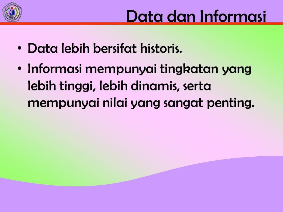 Data dan Informasi Data lebih bersifat historis.