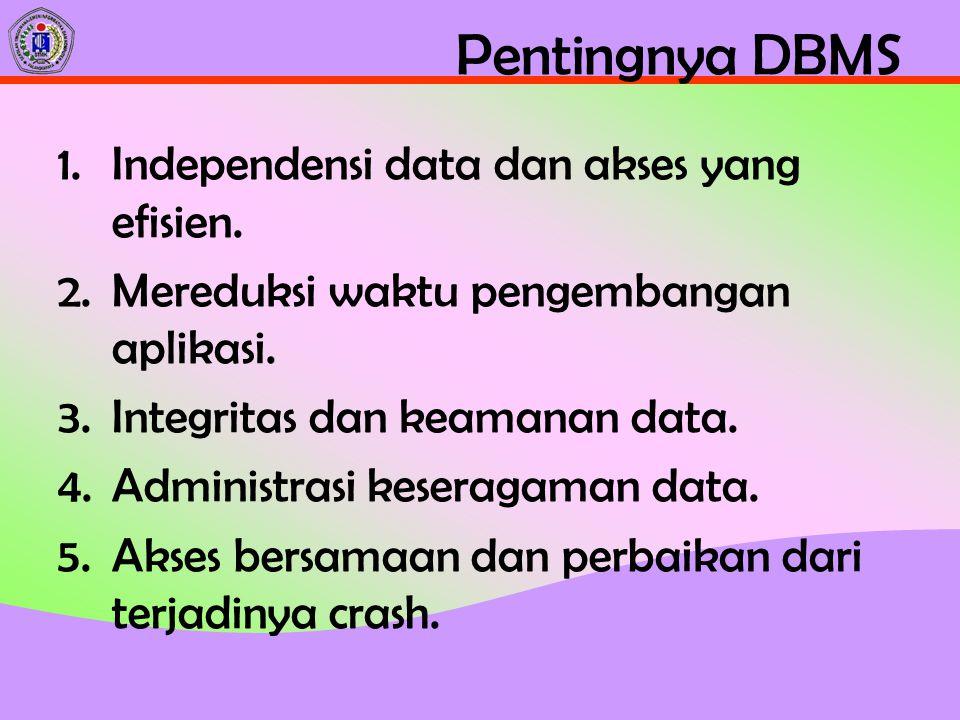 Pentingnya DBMS Independensi data dan akses yang efisien.
