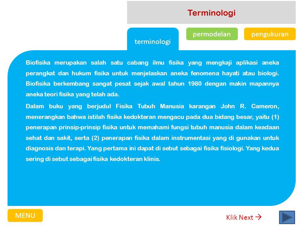 Terminologi terminologi permodelan pengukuran MENU Klik Next 