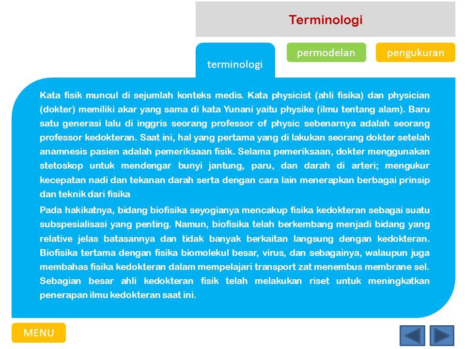 Terminologi terminologi permodelan pengukuran MENU