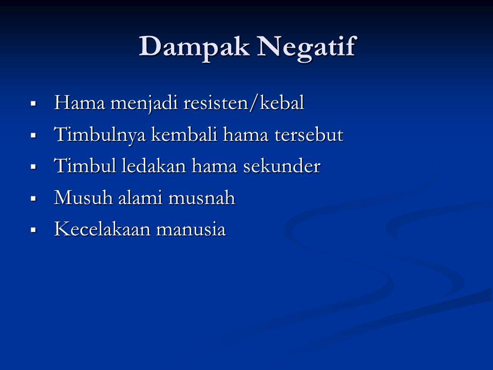 Dampak Negatif Hama menjadi resisten/kebal