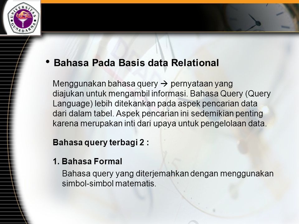 Bahasa Pada Basis data Relational