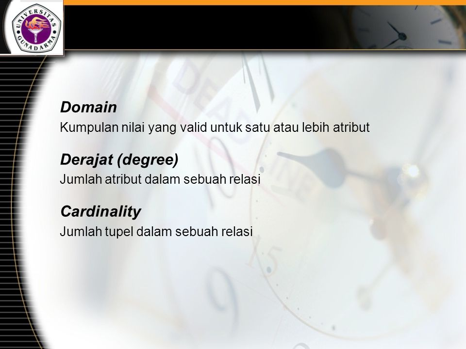 Domain Derajat (degree) Cardinality