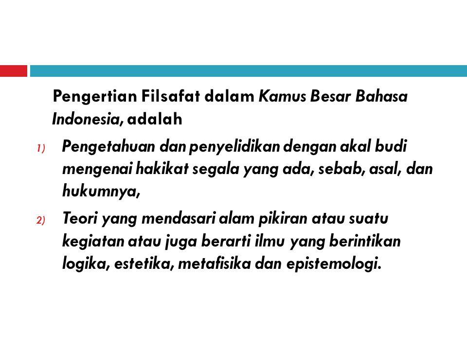 Pengertian Filsafat dalam Kamus Besar Bahasa Indonesia, adalah
