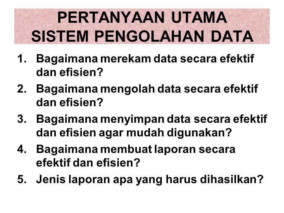 PERTANYAAN UTAMA SISTEM PENGOLAHAN DATA