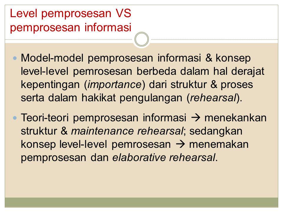 Level pemprosesan VS pemprosesan informasi