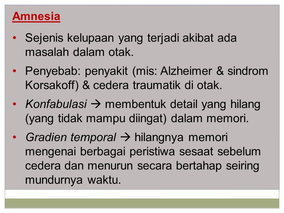 Sejenis kelupaan yang terjadi akibat ada masalah dalam otak.