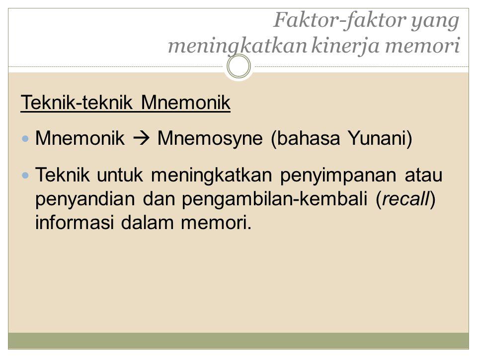 Faktor-faktor yang meningkatkan kinerja memori